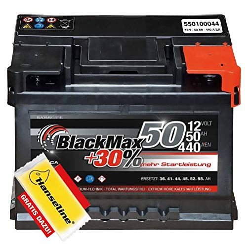 Autobatterie 12V 50Ah 440A BlackMax PKW Batterie statt 44Ah 45Ah inklusive Polfett