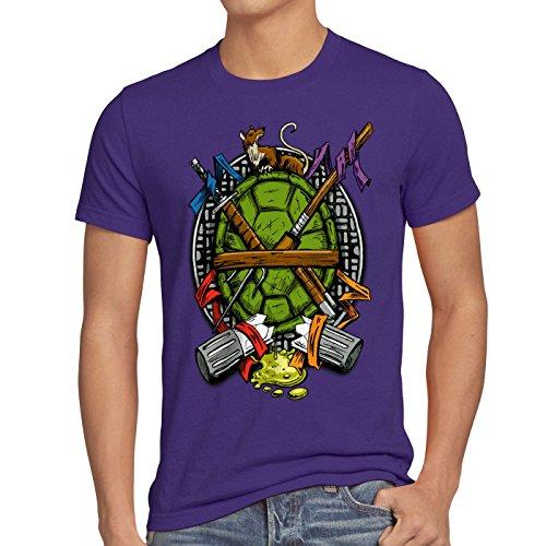 -Shirt Herren turtles teenage schildkröte comic mutant, Größe:XL;Farbe:Lila (Die Ninja Schildkröte Ist Lila)