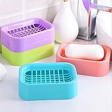 Pindia Double Draining Portable Plastic Grid Soap Dish Organizer Box