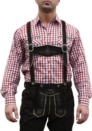 Trachtenhemd für Lederhosen mit Verzierung rot/kariert, Hemdgröße:M