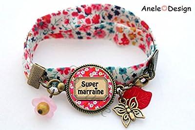 Bracelet liberty pour marraine - cabochon rose blanc noir perles papillon feuille rouge
