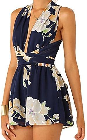 EKU Women's Sexy Deep V Floral Print Tie Waist Jumpsuit US S one