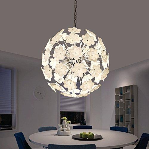 CUICAN Glas klar Kreisförmige kronleuchter Pastoralen stil Blumen] Esszimmer Pendelleuchte Modern Dekoration Leuchte Kreativ licht-A - Klar Appliance Glühbirne