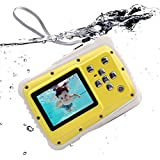 Waterproof Kids Digital Camera, Underwater Action Camera With 2-'' LCD 12MP HD Video Underwater Camcorder For Children Boys Girls Gift Toys (Yellow)