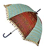 Handmade Embroidery Work Design Jaipuri Silk Umbrella 30 X 34 Inches