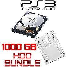 i.norys 1TB (1000GB) Festplatte für SONY PS3 Super Slim (12GB, CECH-400x) + Einbaurahmen + Handbuch/Manual + Positionsschrauben
