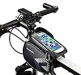 LiDiwee Sacoche Velo, Sacoche de Guidon Cadre Vélo VTT, Support Vélo Téléphone avec Housse Transport Vélo Etanche Ecran Tactile pour Smartphone 6,3 Pouces