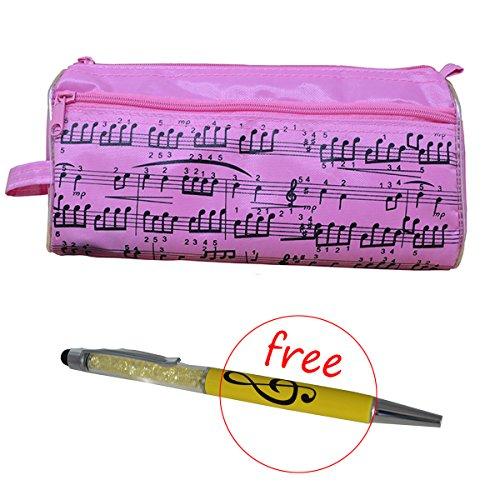 Federmäppchen mit Musiknoten, Stifteetui, wasserdichtes Oxford-Gewebe, tragbar, mit kostenlosem Crystal-Capacitive-Kugelschreiber rose -