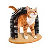 Cat Self Brooming and Massaging Arch with Round Fleece Base/ Cat Toy Scratching Base by SKYLINK