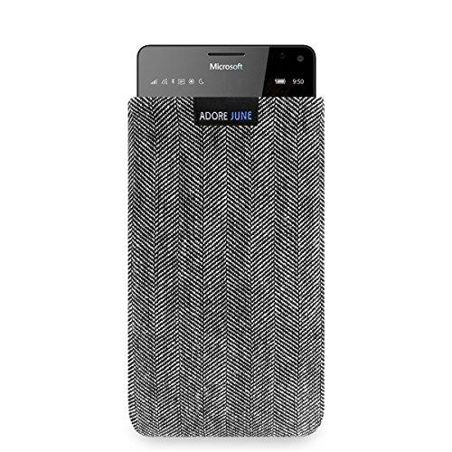 Adore June Business Tasche für Microsoft Lumia 950 XL Handytasche aus charakteristischem Fischgrat Stoff - Grau/Schwarz | Schutztasche Zubehör mit Bildschirm Reinigungs-Effekt | Made in Europe
