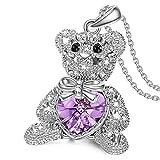 DIOOR Schmuck für Frauen Geschenk für Damen Mädchen Kristall/Silber/Gold Anhänger Halskette Optimistic Bär Anhänger Halskette