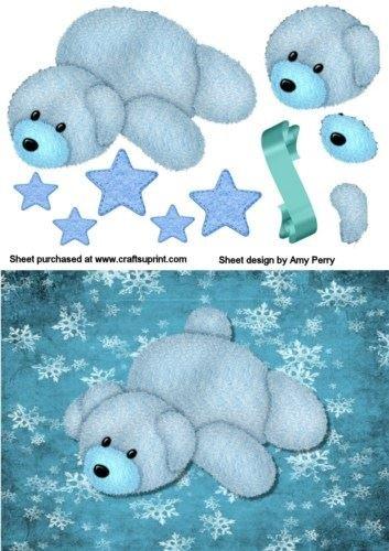 Fuzzy orsetto blu su fondo blu, a forma di fiocco di neve di carta del Amy Perry