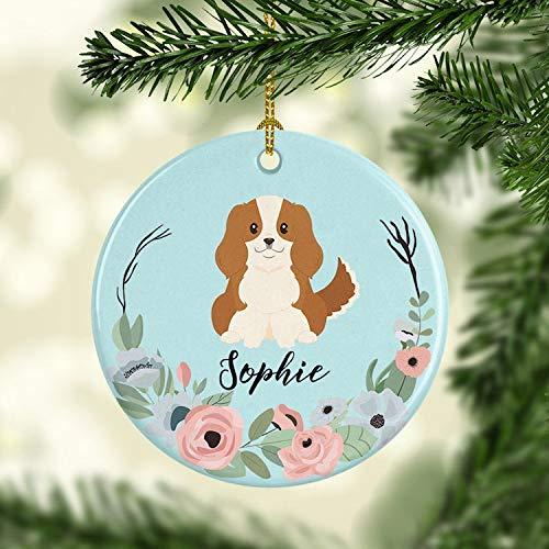 Tiukiu Personalized Dog Ornament Cavalier King Charles Spaniel Christmas Ornament Custom Pet Holiday Ceramic Ornaments Family Dog -