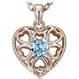 NEEMODA Collier coeur Pendentif cristal bleu Bijoux femme plaqué or rose Cadeaux anniversaire saint valentin Noël fête des mères