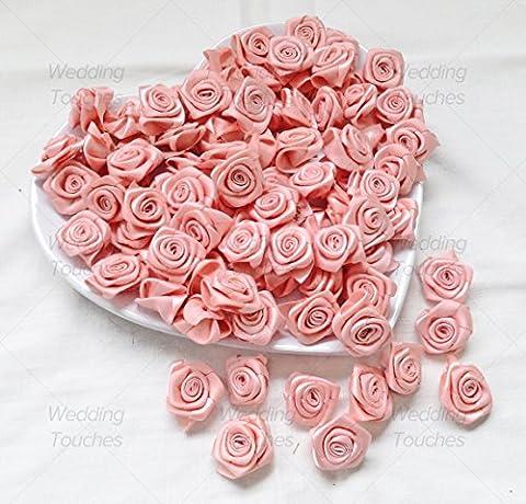 Light Peach 25mm Satin Ribbon Rose Flowers Decorative Craft Flowers (10)