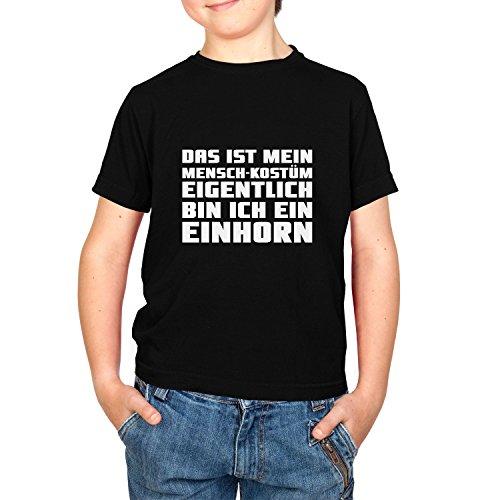 NERDO Kinder Karneval Fasching Das ist Mein Mensch-Kostüm T-Shirt, Schwarz, L