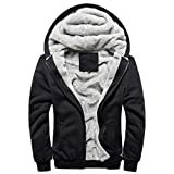 Panegy - Herbst Winter Sweatjacke Sweatshirt Kapuzenpullover Kapuzenjacke für Jungen Männer Dick Hoodie Sportjacke Baseball Jacke - Schwarz - Größe XL