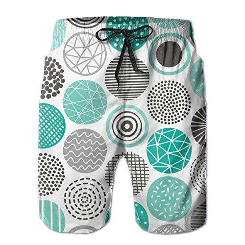 Punkte geometrisch Gemustert Blacku0026White Mint Green_322Herren Sommer Strand Shorts, L,Bunter, langlebiger Polyester-Surf-Skate-Strand -