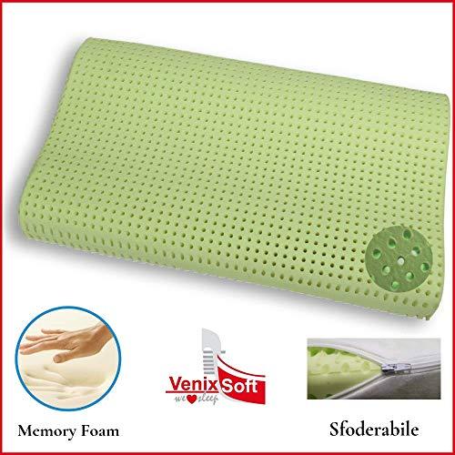 Venixsoft cuscino per letto ortopedico in memory foam Anti Soffoco Terapeutico in linfa DI ALOE VERA dall'effetto cervicale rilassante e riposante. MASSIMA TRASPIRAZIONE-DISPOSITIVO MEDICO CLASSE I-Fodera cotone sfoderabile lavabile. Made in Italy