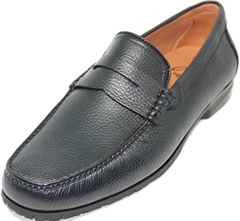 George´s Shoes 3223.Zapato Mocasín con Antifaz,Piel Becerro Grabado de Primera Calidad,Color Azul.Fabricado a...