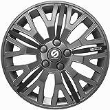 ASD TECH SP 1455L Pack de 4 Enjoliveurs Design Sparco Leggera 14'' Gris/Noir