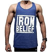 Devoted Men's Gym Stringer Body Building VestBlue- Iron Belief(Blue_Large)