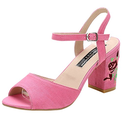 Oasap Women's Fashion Peep Toe Ankle Strap Floral Chunky Heels Sandals Pink