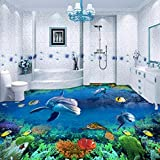 Kuamai Unterwasserwelt Korallen Fisch 3D Outdoor Boden Malerei Tragen Rutschfeste Bad Küche Gehweg Bodenbelag Wandbild-120X100cm