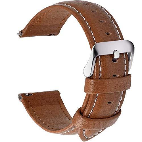 Fullmosa 12 Farben Uhrenarmband, Axus Serie Lederarmband Ersatz-Watch Armband mit Edelstahl Metall Schließe für Herren Damen 14/16/18/20/22/24mm,Braun 20mm