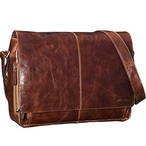 STILORD 'Alex' Vintage Ledertasche Männer Frauen Businesstasche zum Umhängen 15,6 Zoll Laptoptasche Aktentasche Unitasche Umhängetasche Leder, Farbe:cognac - hellbraun antik - braun