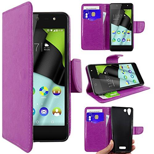 ebestStar - Wiko Selfy 4G Hülle Kunstleder Wallet Case Handyhülle [PU Leder], Kartenfächern, Standfunktion, Lila [: 141 x 68.4 x 7.7mm, 4.8'']