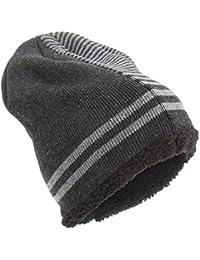 Universal Textiles Rockjock Unisex Striped Knitted Fleece Lined Winter Beanie Hat