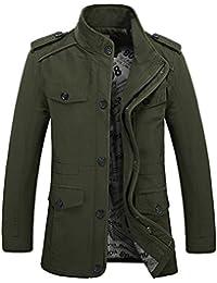 Zicac Veste militaire à fermeture éclair, légère et ajustée à manches longues et à poches multiples en coton pour homme printemps/automne