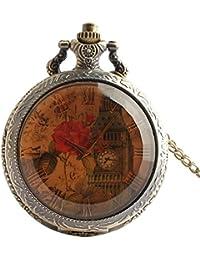 Joielavie Classical Pocket Watch Rose Flower Leaf London Big Ben Roman Numeral Transparent Glass Dial Quartz Movement Clamshell Alloy Necklace Watches Gift for Men Women