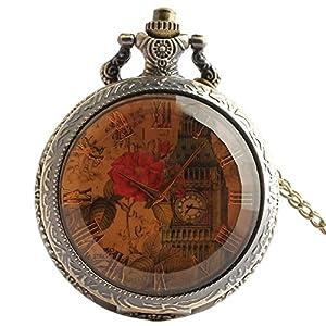 joielavie klassischen Taschenuhr Rose Blume Flower Leaf Blatt London Big Ben Römische Zahl transparent Glas Zifferblatt Quarz-Uhrwerk Clamshell Legierung Halskette Uhren Geschenk für Männer Frauen