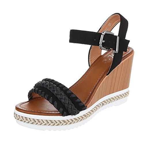 Sandali Con Zeppa Ital-design Scarpe Da Donna Sandali Con Fibbia Moderni Sandali Neri