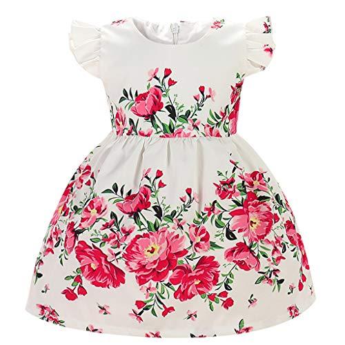 REALIKE Mädchen Baby Mini Kurz Kleid Blumendruck Rüschen Ärmellos Schulterfrei Partykleid Sommerkleid Cocktailkleid Prinzessin Festlich Babybekleidung Floral Kleid Abendkleid