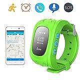 Bambini Smart watch,Orologio da polso Impermeabile Call Chiamate SIM/GPRS Tracking in Tempo Reale posizione,SOS Braccialetto anti-perso Bambino per Telefono Q50(Verde)