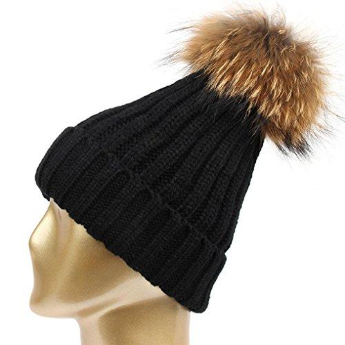 Femmes Hiver Ski Chapeau, Reaso Bonnets Lettre tricot Beanie Hip hop Casquette Fille Chaud Cap Noir