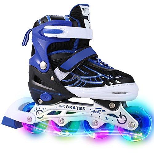 WeSkate Für Kinder / Erwachsene Acht Beleuchtungsräder Atmungsaktives Mesh Inline Skates Aluminium Rahmen Einstellbare Größen Rollschuhe für drei Größen 31-34 / 35-38 / 39-42 (Blau, 35-38) (Jugend-skate-schuhe 3)
