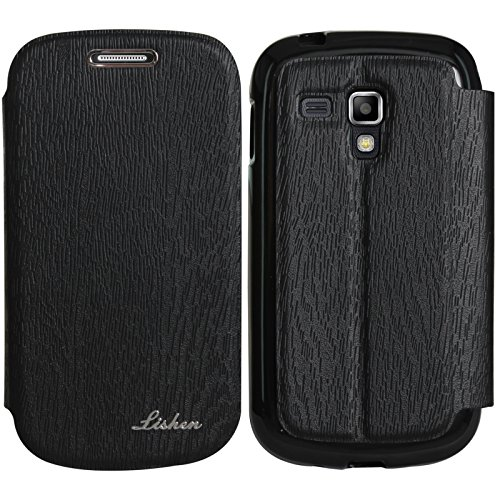 DMG Lishen Textured Flip Cover Stand View Case for Samsung Galaxy S Duos S7562 (Black)  available at amazon for Rs.219