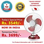 Rico Rechargeable battery table fan 12 inches Japanese Technology swing for bedroom study big size for home office with...