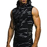 ➤ Spätestens Bekleidung Oberteile,Loveso Herren Tarnung Ärmellos T-Shirt Männer Kordelzug Sweatshirts Hooded Comi Kapuzenpullover Regular Fit T-Shirt Basic ärmelloses T-Shirt (★Schwarz, XL)