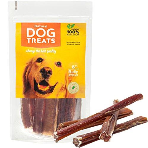 100% Naturales Palos para Perros 8 Pulgadas de Cuero Crudo de Toro Bocadillo, 10 Piezas