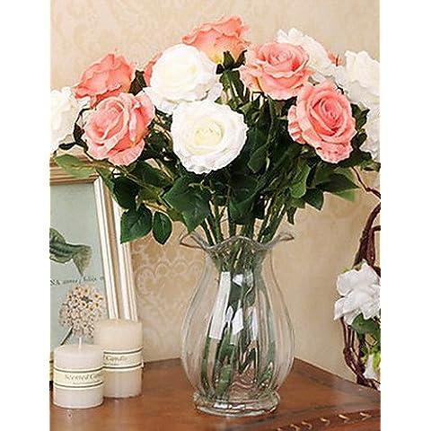 Home decorazione di fiori artificiali, Set di 2 stile naturale di simulazione di Rose , pink