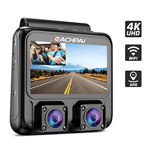 """EACHPAI X100 Plus 4K HD WiFi Dashcam, Dual Camera Autokamera für Vorne und Hinten, 3\"""" Screen Dash Cam mit GPS und Nachtsicht"""
