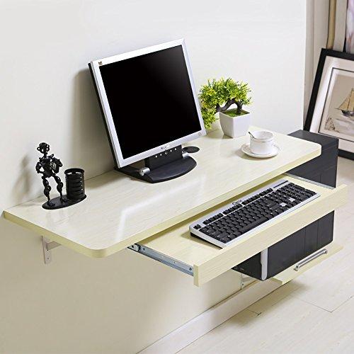 LQQGXLPortabler Klapptisch Wand-Computertisch, multifunktioneller Familientisch, Arbeitstisch, (Farbe : Nicht-gerade weiss, größe : 100 * 40cm)