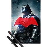 Póster + Soporte: Batman Vs Superman Póster (91x61 cm) Batman Solo Y 1 Lote De 2 Varillas Negras 1art1®