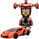Babytintin Friction Powered Converting Car To Robot, Robot To Car Manually,Transformer Toy, With Light And Sound For Kids (33904A) (Multi Color) (Robot Car A)