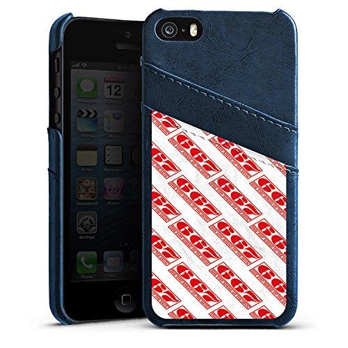 Apple iPhone SE Housse Outdoor Étui militaire Coque Rouge Motif Motif Étui en cuir bleu marine